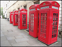 BNPS.co.uk (01202 558833)<br /> Pic: AmberleyPublishing/BNPS<br /> <br /> The much-photographed and delightful collection of five K2 Kiosks at Broad Court, Convent Garden, London.<br /> <br /> The iconic British phonebox has been given a ringing endorsement in a new book charting the expiring institution's fascinating history. <br /> <br /> Aptly titled 'The British Phonebox', the book primarily focuses on the ubiquitous design that's as emblematic to Britain as the black cab, double decker bus and Houses of Parliament. <br /> <br /> Equally interesting are the early chapters, which detail the phonebox's humble 19th century beginnings and the final ones, that bemoan their dwindling numbers <br /> <br /> The 96 page paperback, jointly authored by friends Nigel Linge and Andy Sutton, is published by Amberley and costs &pound;13.49.