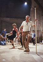 """- Dario Fo during rehearsals of the show """"Histoire du Soldat"""", from the opera of Igor Stravinsky (1979)....- Dario Fo durante le prove dello spettacolo """"Histoire du Soldat"""", tratto dall'opera di Igor Stravinsky (1979)"""