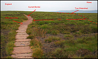 BNPS.co.uk (01202 558833)<br /> Pic: MyrddynPhilips/BNPS<br /> <br /> The path along the Hatterrall Ridge marks the current border as well as the line of Offa's Dyke.<br /> <br /> Border skirmish - Amateur cartologist discovers part of Wales should actually be in England.<br /> <br /> A hillwalker has discovered that the border between England and Wales has been incorrectly marked for decades - and that England should be given more land.<br /> <br /> Myrddyn Phillips said the official border between the two countries in the Black Mountains south of Hay-on-Wye has been wrongly traced on the Ordnance Survey maps.<br /> <br /> The current border should follow the natural watershed from the summit of Twyn Llech on the nine mile long Hatterrall Ridge in the remote area.<br /> <br /> But intrepid Mr Phillips and his rambling partner Mark Trengove have remeasured the summit of the 2,308ft mountain - and found it to be 12m further west than previously thought.<br /> <br /> Although 12 metres is a seemingly small discrepancy, the area amounts to 1.8 million square feet along the entirety of the ridge.