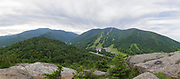 Panoramic of cloudy sky over Franconia Notch State Park from Bald Mountain in the White Mountains, New Hampshire USA during the summer months. This is five images stitched together.