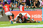 Jerry Tuwai of Fiji (R) fights with Willy Ambaka of Kenya (L) during the HSBC Hong Kong Sevens 2018 match between Fiji and Kenya on 08 April 2018, in Hong Kong, Hong Kong. Photo by Marcio Rodrigo Machado / Power Sport Images