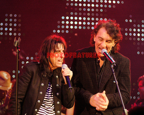 Alice Cooper and Fee Waybill..at Alice Cooper's Christmas Pudding show to benefit his Solid Rock Foundation for children, Dodge Theatre in Phoenix, December 17th 2005...Photo by Chris Walter/Photofeatures