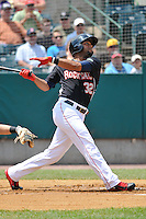 Aaron Hicks (32) of the New Britain Rock Cats bats during a game against the Altoona Curve at New Britain Stadium on June 25, 2014 in New Britain, Connecticut.  New Britain defeated Altoona 3-1.  (Gregory Vasil/Four Seam Images)