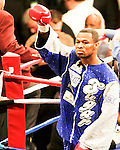 FEBRUARY 24 2006 The left eye of Fernando Vargas swells up The fight was called in the 10th round because of swelling in the left eye of Vargas as Mosley  (photo) was given the 10th round TKO victory of the junior middleweight fight at the Mandalay Bay Events Center on February 25, 2006 in Las Vegas, Nevada.