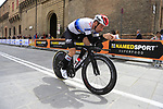 Victor Campenaerts (BEL) Lotto Soudal heads out for a practice run before Stage 1 of the 2019 Giro d'Italia, an individual time trial running 8km from Bologna to the Sanctuary of San Luca, Bologna, Italy. 11th May 2019.<br /> Picture: Eoin Clarke | Cyclefile<br /> <br /> All photos usage must carry mandatory copyright credit (© Cyclefile | Eoin Clarke)