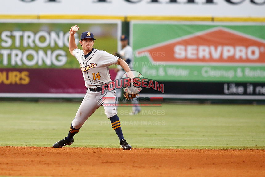 Montgomery Biscuits second baseman Nick Solak (14) throws the ball to first base in the game against the Chattanooga Lookouts hit by a Chattanooga Lookouts batter on May 25, 2018 at AT&T Field in Chattanooga, Tennessee. (Andy Mitchell/Four Seam Images)