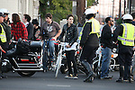 10-11-09.Exlusive ...Jared Leto riding a white bicycle while directing a music video in downtown Los Angeles.  Jared was talking to the police men on set & was very impressed with all the crazy bicycles they had on set. ...www.AbilityFilms.com.AbilityFilms@yahoo.com.805-427-3519