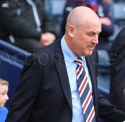 10.04.2016. Hampden Park, Glasgow, Scotland. Petrofac Training Cup Final. Rangers versus Peterhead. Rangers manager Mark Warburton leads his side out at Hampden