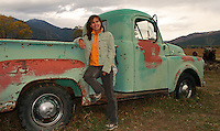 Cheyenne with an old Dodge Truck in Taos New Mexico