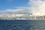 Seattle, Cruise ships bound for Alaska, via the Inside Passage, Seattle skyline,