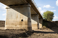 A bird flies underneath a bridge that passes over a dried up river bed near the city of Latur. Almost all major bodies of water, including rivers and lakes, have dried up in the region.