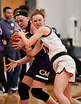 Highland guard Kirsten Taylor (right) battles for the ball with Civic Memorial forward Anna Hall. Highland played Civic Memorial in the Class 3A Effingham sectional championship game at Effingham High School in Effingham, Illinois on Thursday February 27, 2020. <br /> Tim Vizer/Special to STLhighschoolsports.com