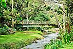 A bamboo bridge crosses a stream at the McBryde Garden, part of the National Tropical Botanical Garden near Koloa on Kauai, Hawaii