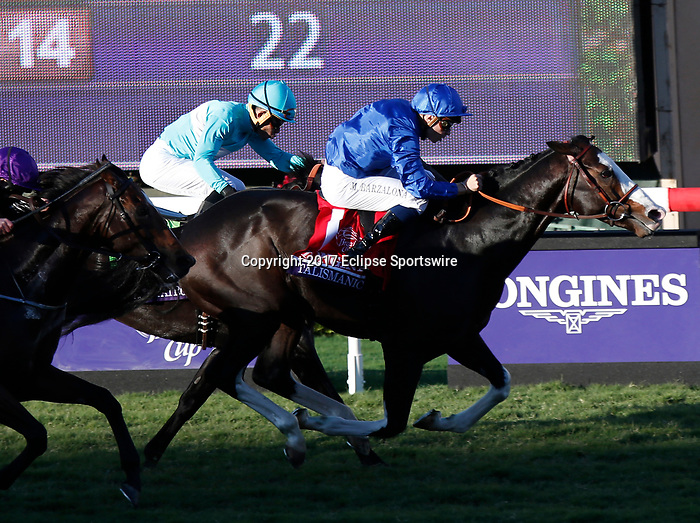 DEL MAR, CA - NOVEMBER 04: Talismanic #1, ridden by Mickael Barzalona, heads down the stretch on the way to winning the Longines Breeders' Cup Turf race on Day 2 of the 2017 Breeders' Cup World Championships at Del Mar Racing Club on November 4, 2017 in Del Mar, California. (Photo by Kazushi Ishida/Eclipse Sportswire/Breeders Cup)