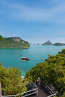 Ang Thong National Marine Park with many small untouched islands from the high viewpoint, Ko Mae Ko, Thailand