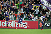 November 4th 2017, nib Stadium, Perth, Australia; A-League football, Perth Glory versus Adelaide United; Andy Keogh of the Perth Glory scores a second half try to put the Glory ahead 1-0