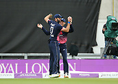 29th September 2017, Ageas Bowl, Southampton, England; One Day International Series, England versus West Indies; Liam Plunkett of England celebrates catching West Indies Chris Gayle with Sam Billings of England