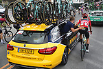 Race leader Primoz Roglic (SLO) Team Jumbo-Visma back at the team car during Stage 12 of La Vuelta 2019 running 171.4km from Circuito de Navarra to Bilbao, Spain. 5th September 2019.<br /> Picture: Luis Angel Gomez/Photogomezsport | Cyclefile<br /> <br /> All photos usage must carry mandatory copyright credit (© Cyclefile | Luis Angel Gomez/Photogomezsport)