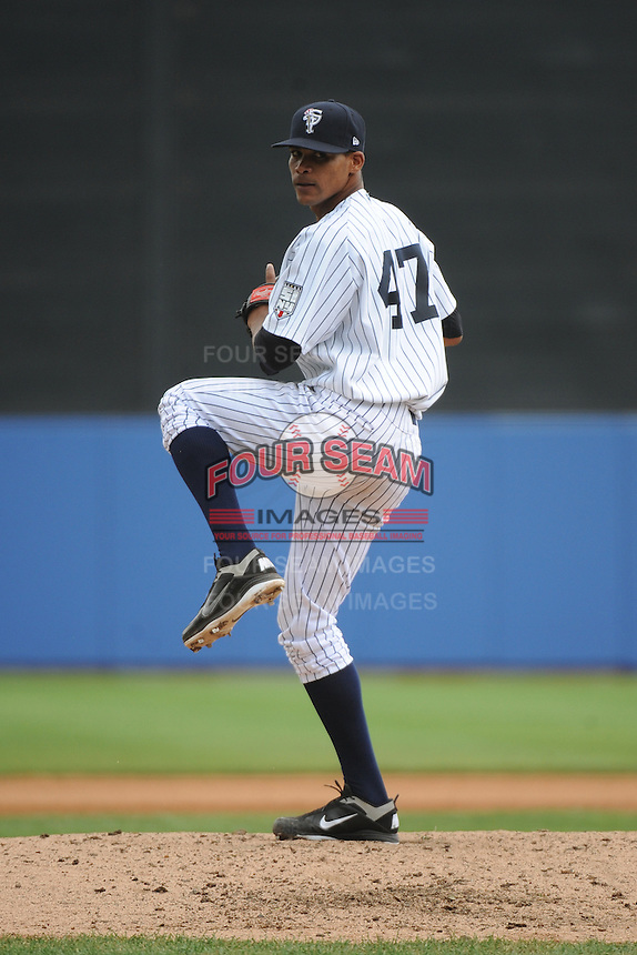 Staten Island Yankees pitcher Kelvin Castro (47) during game against the State College Spikes at Richmond County Bank Ballpark at St.George on August 8, 2013 in Staten Island, NY.  Staten Island defeated State College 6-5.  (Tomasso DeRosa/Four Seam Images)