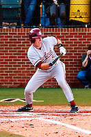 NASHVILLE, TENNESSEE-Feb. 26, 2011:  Zack Jones of Stanford prepares to bunt against Vanderbilt, during a game at Vanderbilt University in Nashville, Tennessee.  Vanderbilt defeated Stanford 8-7.