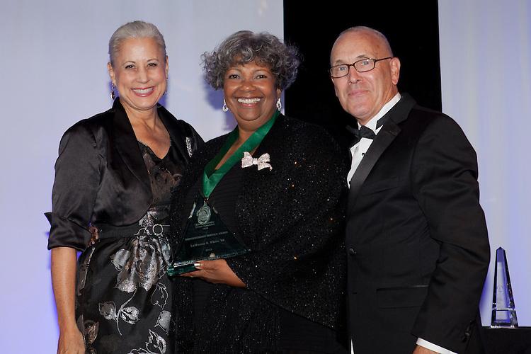 Jennifer Neubauer, Lawanna Mckinley White and Bill Hilyard at Ohio University Alumni Association's Annual Awards Gala at Baker University Center on October 11, 2013.