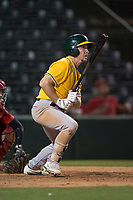 AZL Athletics second baseman Nick Ward (4) follows through on his swing during an Arizona League game against the AZL Angels at Tempe Diablo Stadium on June 26, 2018 in Tempe, Arizona. The AZL Athletics defeated the AZL Angels 7-1. (Zachary Lucy/Four Seam Images)