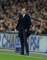 Massimiliano Allegri Head Coach of Juventus<br /> <br /> Photographer Rob Newell/CameraSport<br /> <br /> UEFA Champions League Round of 16 Second Leg - Tottenham Hotspur v Juventus - Wednesday 7th March 2018 - Wembley Stadium - London <br />  <br /> World Copyright &copy; 2017 CameraSport. All rights reserved. 43 Linden Ave. Countesthorpe. Leicester. England. LE8 5PG - Tel: +44 (0) 116 277 4147 - admin@camerasport.com - www.camerasport.com