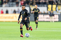 LOS ANGELES, CA - MARCH 08: Diego Palacios #12 of LAFC against Philadelphia Union during a game between Philadelphia Union and Los Angeles FC at Banc of California Stadium on March 08, 2020 in Los Angeles, California.