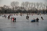 Beijingers on the frozen Houhai lake.