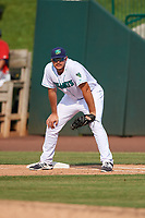 Lynchburg Hillcats first baseman Anthony Miller (40) during the first game of a doubleheader against the Potomac Nationals on June 9, 2018 at Calvin Falwell Field in Lynchburg, Virginia.  Lynchburg defeated Potomac 5-3.  (Mike Janes/Four Seam Images)