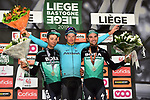 Jakob Fuglsang (DEN) Astana Pro Team wins the 105th edition of Liège-Bastogne-Liège 2019, La Doyenne, with Davide Formolo (ITA) Bora-Hansgrohe 2nd and team mate Maximilian Schachmann (GER) 3rd place, running 256km from Liege to Liege, Belgium. 28th April 2019<br /> Picture: Arne Mill | Cyclefile<br /> All photos usage must carry mandatory copyright credit (© Cyclefile | Arne Mill)