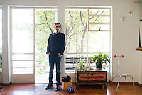 Daniel Garza-Usabiaga curator for the Chopo Museum at his house in the Cuahutemoc neighborhood of Mexico City.