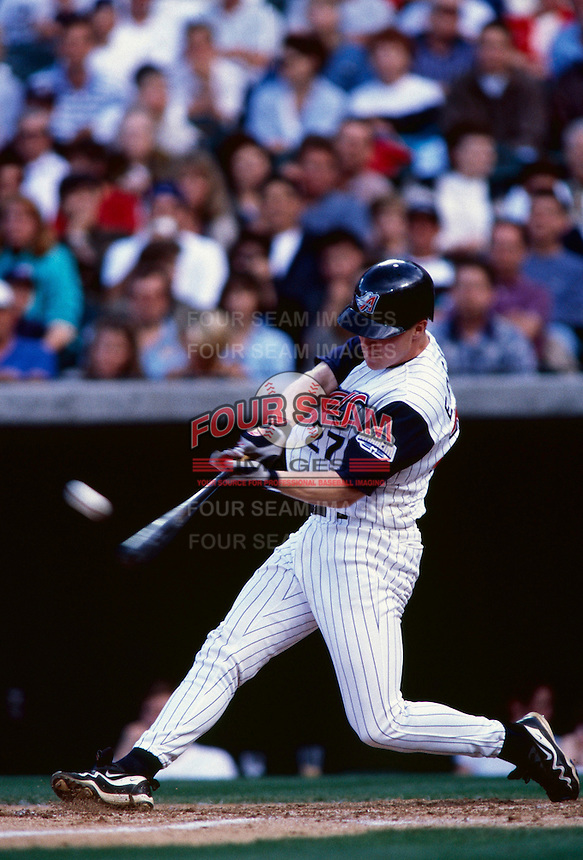 Darin Erstad of the Anaheim Angels plays in a baseball game at Edison International Field during the 1998 season in Anaheim, California. (Larry Goren/Four Seam Images)