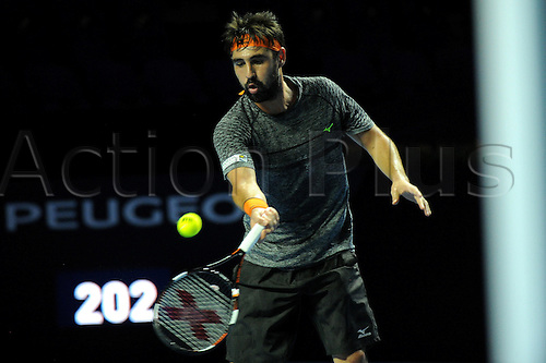 25.10.2016.  St. Jakobshalle, Basel, Switzerland. Basel Swiss Indoors Tennis Championships. Day 2. Marcos Baghdatis in action in the match against David Goffin of Belgium