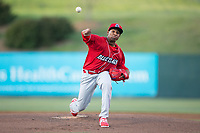 Lakewood BlueClaws starting pitcher Sixto Sanchez (23) in action against the Kannapolis Intimidators at Kannapolis Intimidators Stadium on April 7, 2017 in Kannapolis, North Carolina.  The BlueClaws defeated the Intimidators 6-4.  (Brian Westerholt/Four Seam Images)