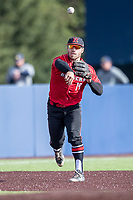 Rutgers Scarlet Knights third baseman Carmen Sclafani (19) makes a throw to first base against the Michigan Wolverines on April 26, 2019 in the NCAA baseball game at Ray Fisher Stadium in Ann Arbor, Michigan. Michigan defeated Rutgers 8-3. (Andrew Woolley/Four Seam Images)