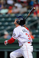 Shortstop Javier Guerra (31) of the Greenville Drive bats in a game against the Savannah Sand Gnats on Sunday, July 5, 2015, at Fluor Field at the West End in Greenville, South Carolina. Guerra is the No. 13 prospect of the Boston Red Sox, according to Baseball America. Savannah won, 8-6. (Tom Priddy/Four Seam Images)
