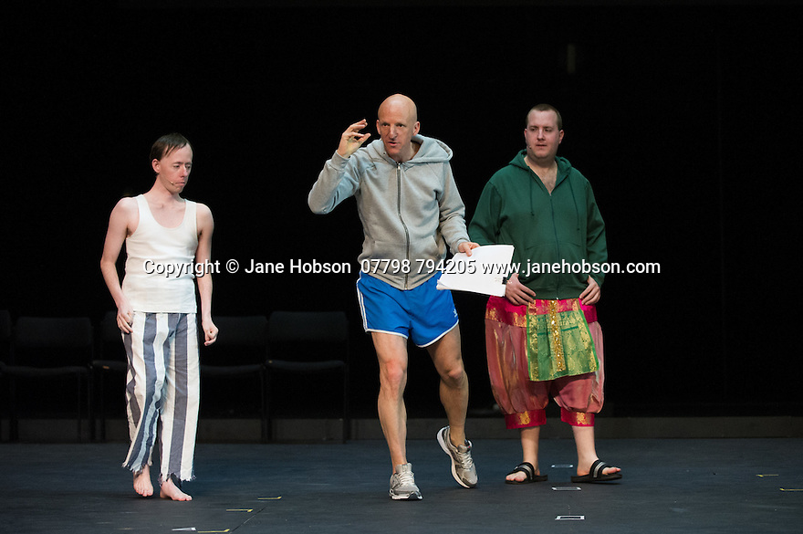 Edinburgh, UK. 09.08.2014.  GANESH VERSUS THE THIRD REICH, presented by Australian company, Back to Back Theatre, opens at the Royal Lyceum Theatre, as part of the Edinburgh International Festival. Picture shows: Simon Laherty, David Woods and Brian Tilley. Photograph © Jane Hobson.