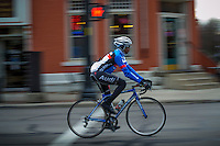 Bicyclist navigates way through Uptown Westerville..