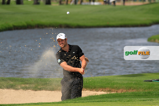 Jean-Babtiste Gonnet (FRA) chips out of a bunker at the 16th green during Friday's Round 2 of the Open de Espana at Real Club de Golf de Sevilla, Seville, Spain, 4th May 2012 (Photo Eoin Clarke/www.golffile.ie)