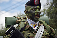 BOGOTÁ - COLOMBIA, 20-07-2018: Miembros de los lanceros del ejercito durante el desfile Militar del 20 de Julio con motivo del 208 Aniversario de la Independencia de Colombia realizado por las calles de la ciudad de Bogotá. / Spearmen of the army members during July 20th Military Parade on the occasion of the 208th Anniversary Independence of Colombia that took place trough the streets of Bogota city. Photo: VizzorImage / Nicolas Aleman / Cont