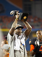 STANFORD, CA - January 2, 2012: Oklahoma State wide receiver Justin Blackmon (81) awarded the offensive player of the game against Stanford at the Fiesta Bowl at University of Phoenix Stadium in Phoenix, AZ. Final score Oklahoma State wins 41-38.