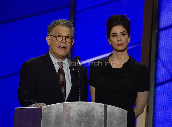 United States Senator Al Franken (Democrat of Minnesota) and Sarah Silverman make remarks at the 2016 Democratic National Convention at the Wells Fargo Center in Philadelphia, Pennsylvania on Monday, July 25, 2016.<br /> Credit: Ron Sachs / CNP/MediaPunch<br /> (RESTRICTION: NO New York or New Jersey Newspapers or newspapers within a 75 mile radius of New York City)