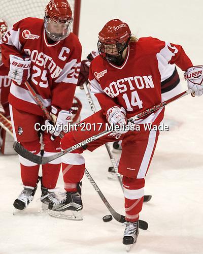 Alexis Crossley (BU - 25), Maddie Elia (BU - 14) - The Harvard University Crimson tied the Boston University Terriers 6-6 on Monday, February 7, 2017, in the Beanpot consolation game at Matthews Arena in Boston, Massachusetts.