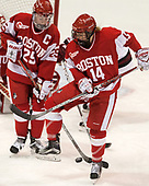 Alexis Crossley (BU - 25), Maddie Elia (BU - 14) - The Harvard University Crimson tied the Boston University Terriers 6-6 on Monday, February 7, 2017, in the Beanpot consolation game at Matthews Arena in Boston, Massachusetts.