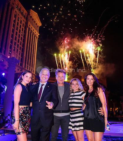 LAS VEGAS, NV - August 5, 2016: ***HOUSE COVERAGE*** Holly Ramsay, President of Caesars Palace Gary Selesner, Gordon Ramsay, Matilda Ramsay and Tana Ramsay pictured as Caesars Palace celebrates it's 50th anniversary with a pool party celebration hosted by Gordon Ramsay at Garden of the Gods Pool Oasis at Caesars Palace in Las vegas, NV on August 5, 2016. Credit: Erik Kabik Photography/ MediaPunch