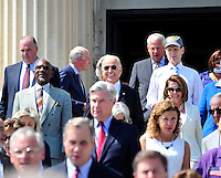 United States Vice President Joe Biden joins Democratic members of the US House of Representatives and US Senate as they assemble on the East Steps of the US Capitol to call on Republican leadership in both legislative bodies to schedule votes on funding to combat the Zika Virus, to prohibit people on the federal &quot;no fly&quot; list from purchasing guns, and to conduct confirmation hearings and schedule a vote on the confirmation of Judge Merrick Garland as Associate Justice of the US Supreme Court in Washington, DC on Thursday, September 8, 2016.<br /> Credit: Ron Sachs / CNP /MediaPunch