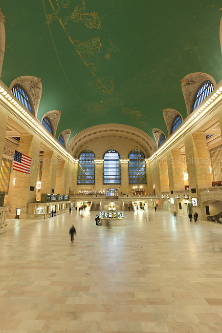 The main concourse of historic Grand Central Terminal looking west from the east balcony toward Vanderbilt Avenue.  Grand Central Terminal is located in New York City, New York, USA