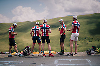 Norwegian fan up the Col de Val Louron-Azet waiting for the race to pass by<br /> <br /> Stage 17: Bagnères-de-Luchon > Saint-Lary-Soulan (65km)<br /> <br /> 105th Tour de France 2018<br /> ©kramon