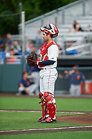 Auburn Doubledays catcher Andrew Pratt (33) during a NY-Penn League game against the Connecticut Tigers on July 12, 2019 at Falcon Park in Auburn, New York.  Auburn defeated Connecticut 7-5.  (Mike Janes/Four Seam Images)